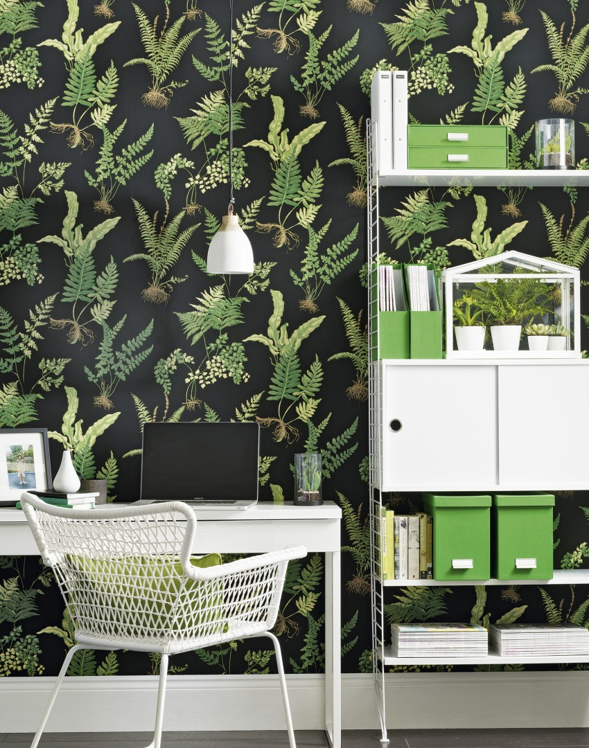 Modern Home Office with Fern-print Wallpaper