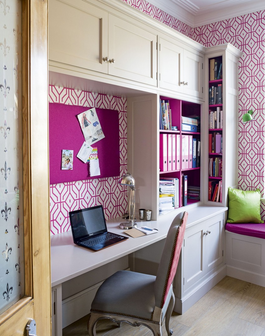 Modern Home Office with Hot Pink Wallpaper