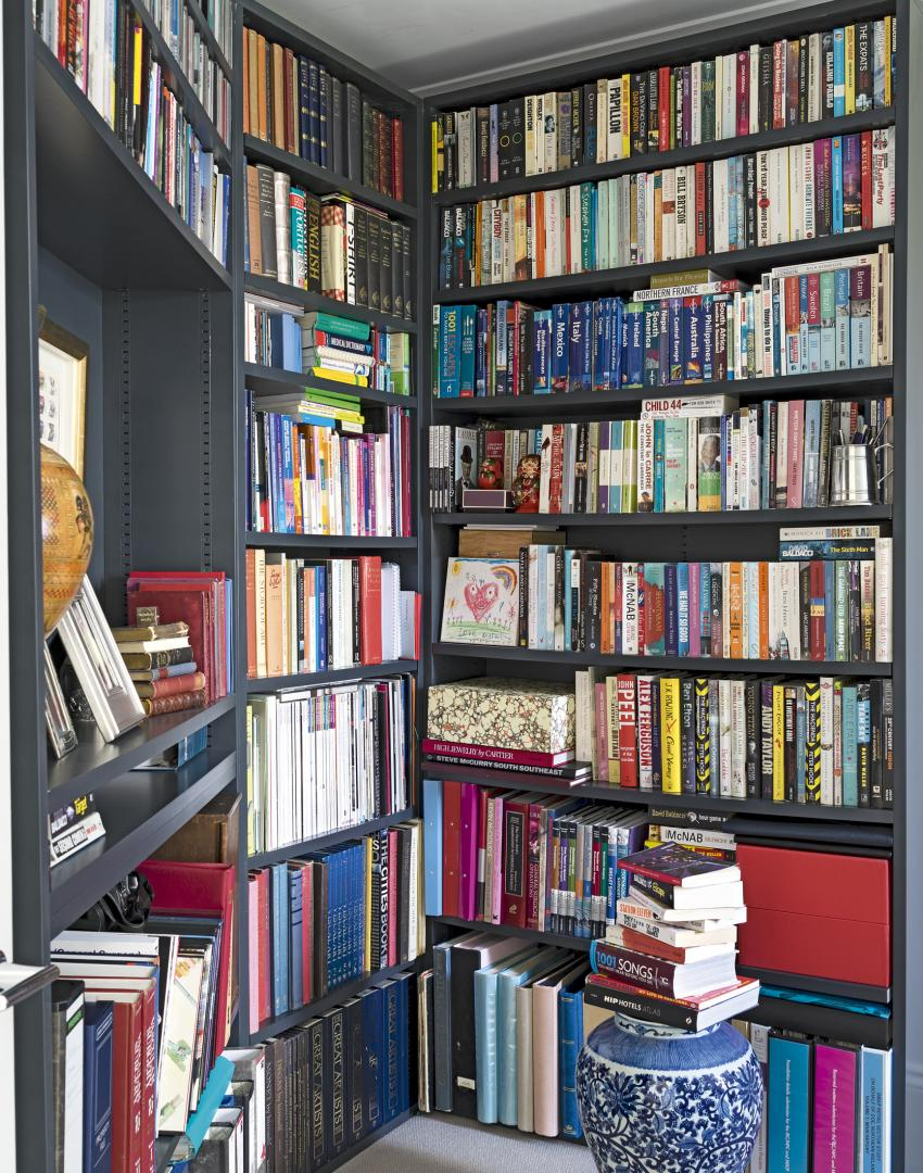 Home Office with Smart Grey Angled Bookshelves