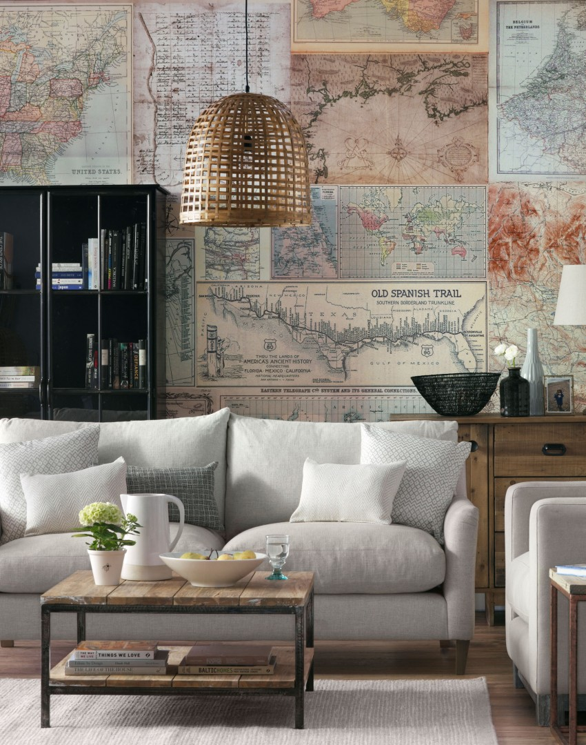 Living room with map design wallpaper mural