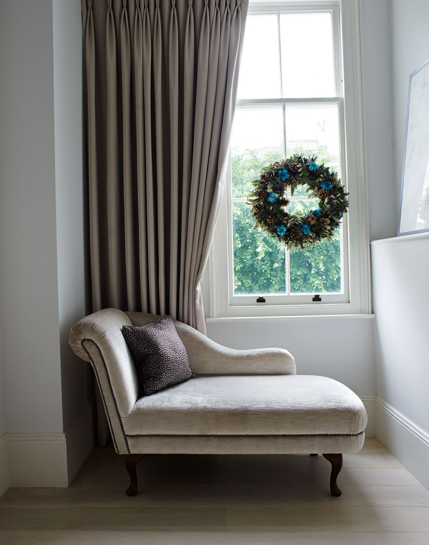 Landing with Chaise Longue and Christmas Wreath