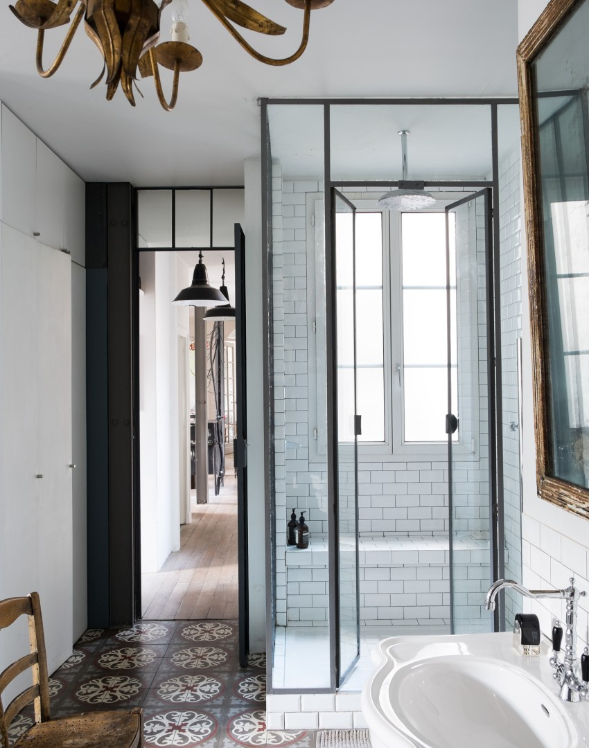 Modern Bathroom with Ethnic Floor Tiles and Showcase Lighting