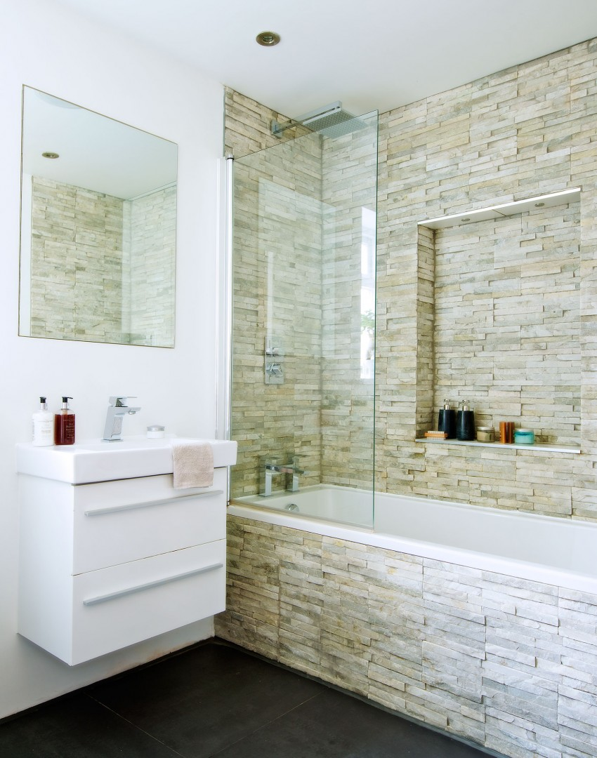 Modern Bathroom with Textured Stone Tiles