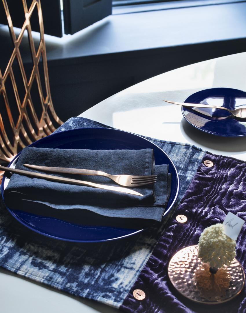 Bronze Cutlery with Sumptuous Velvet Table Runner