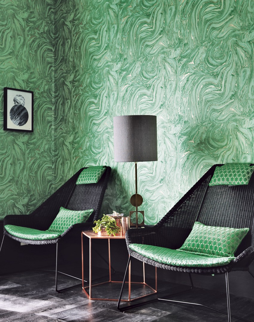Incorporate shimmer and shine into your scheme the room edit - Green living room wallpaper ...