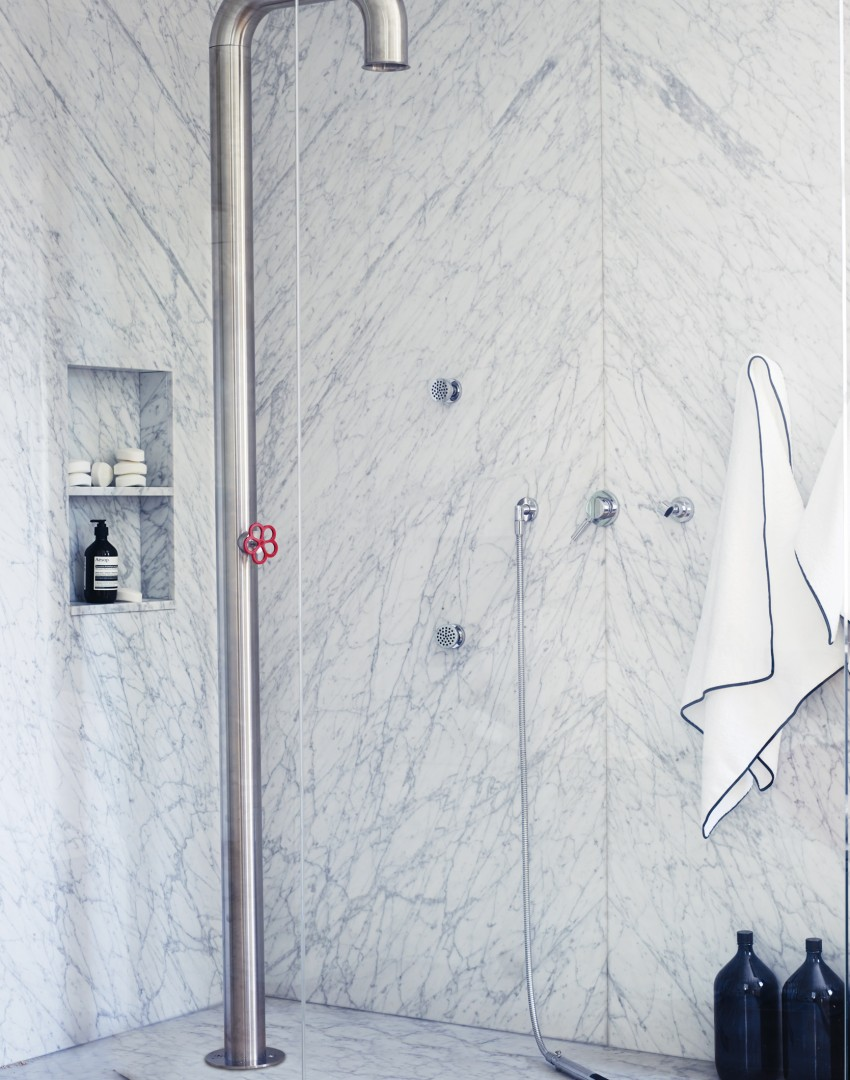 Modern Marble Bathroom with Pipe Shower