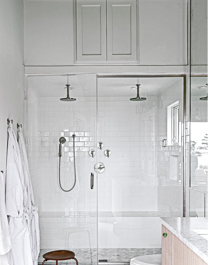 Modern White Bathroom with Glossy Metro Tiles and a Green Ceiling