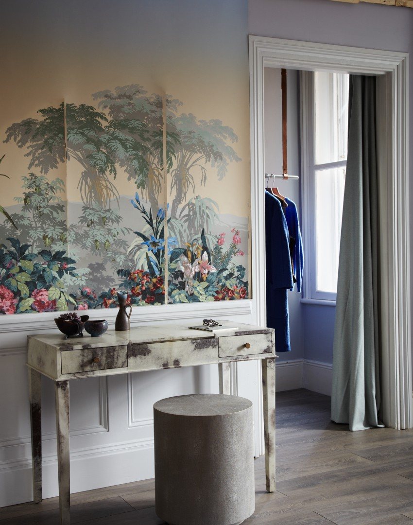 Modern Bedroom with Dressing Area and Tropical Mural