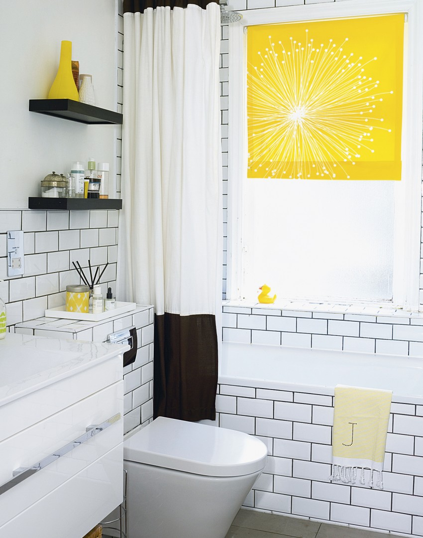 Monochrome Bathroom with Bright Yellow Accents