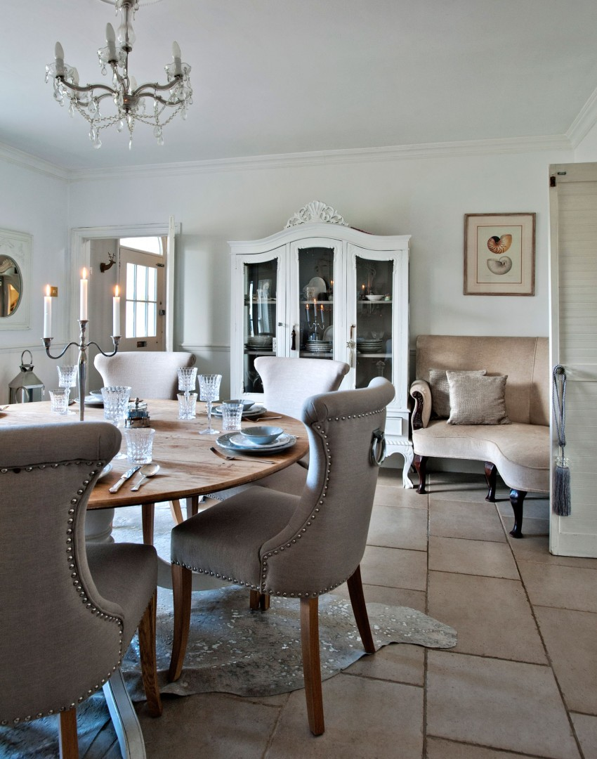 Neutral Country Dining Room With French Style Display Cabinet And Glass  Chandelier Part 94