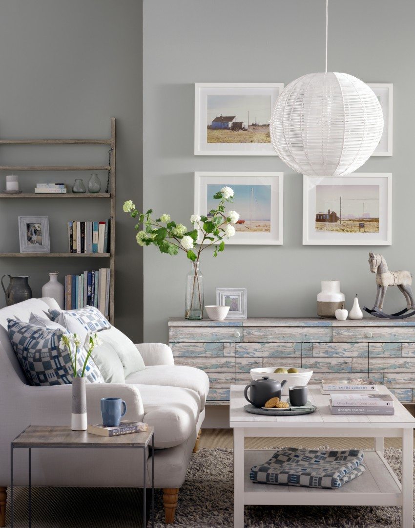 Pale grey living room with upcycled sideboard