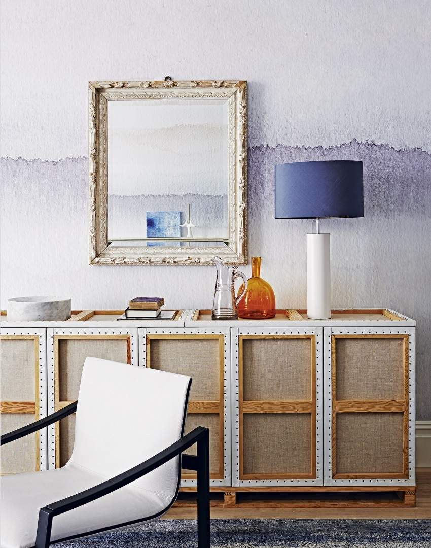 Blue and Orange Living Room with Contemporary Panelled Sideboard