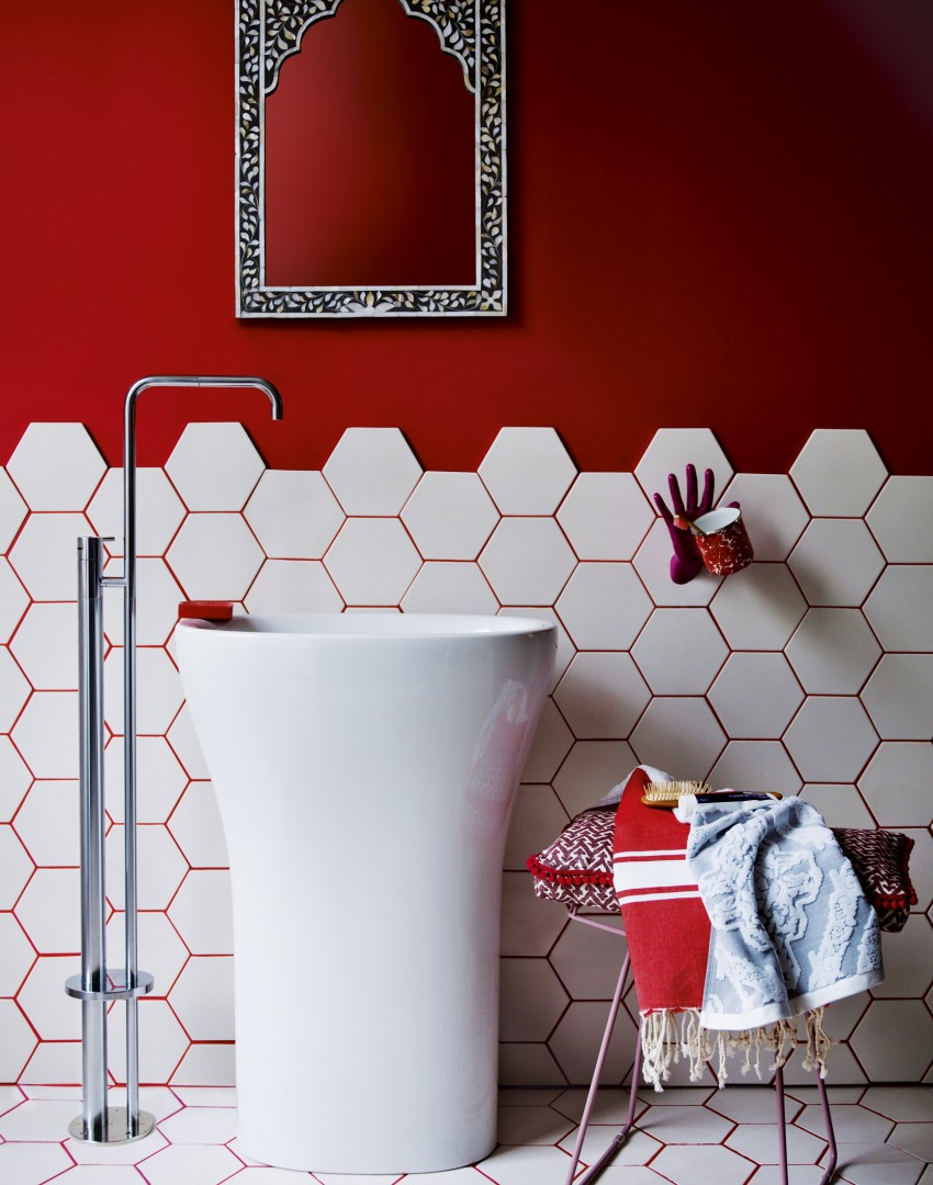Red and White Bathroom with Designer Basin