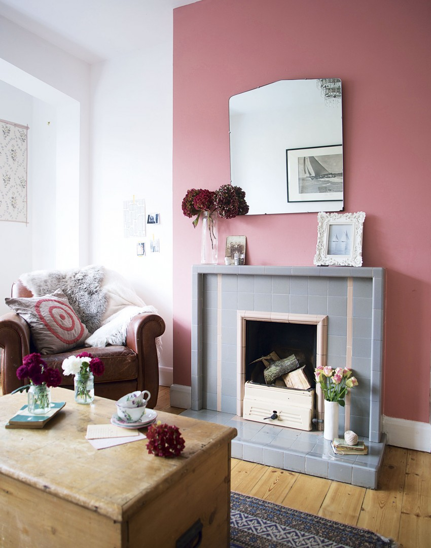 Pink Modern Country Living Room With Fireplace