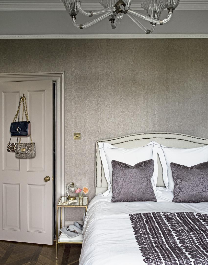 Grey Traditional Bedroom with Patterned Duvet Cover and Chandelier