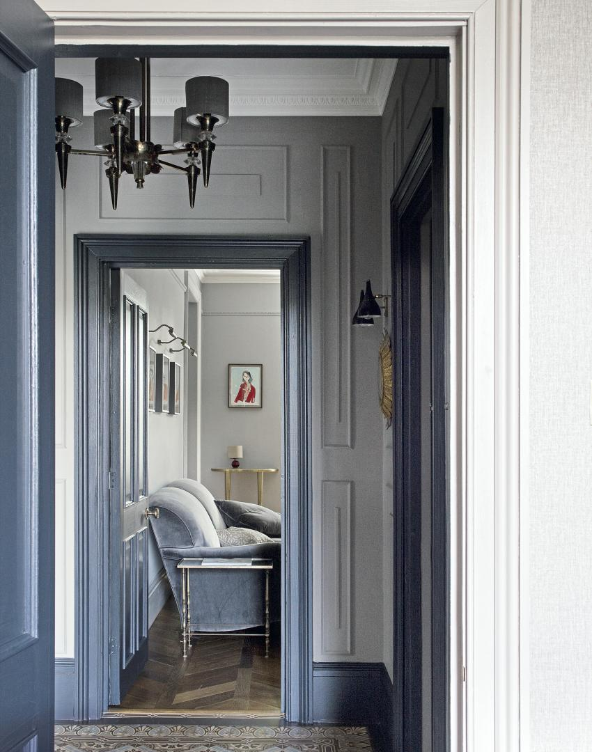 Grey Traditional Hallway with Period Floor Tiles