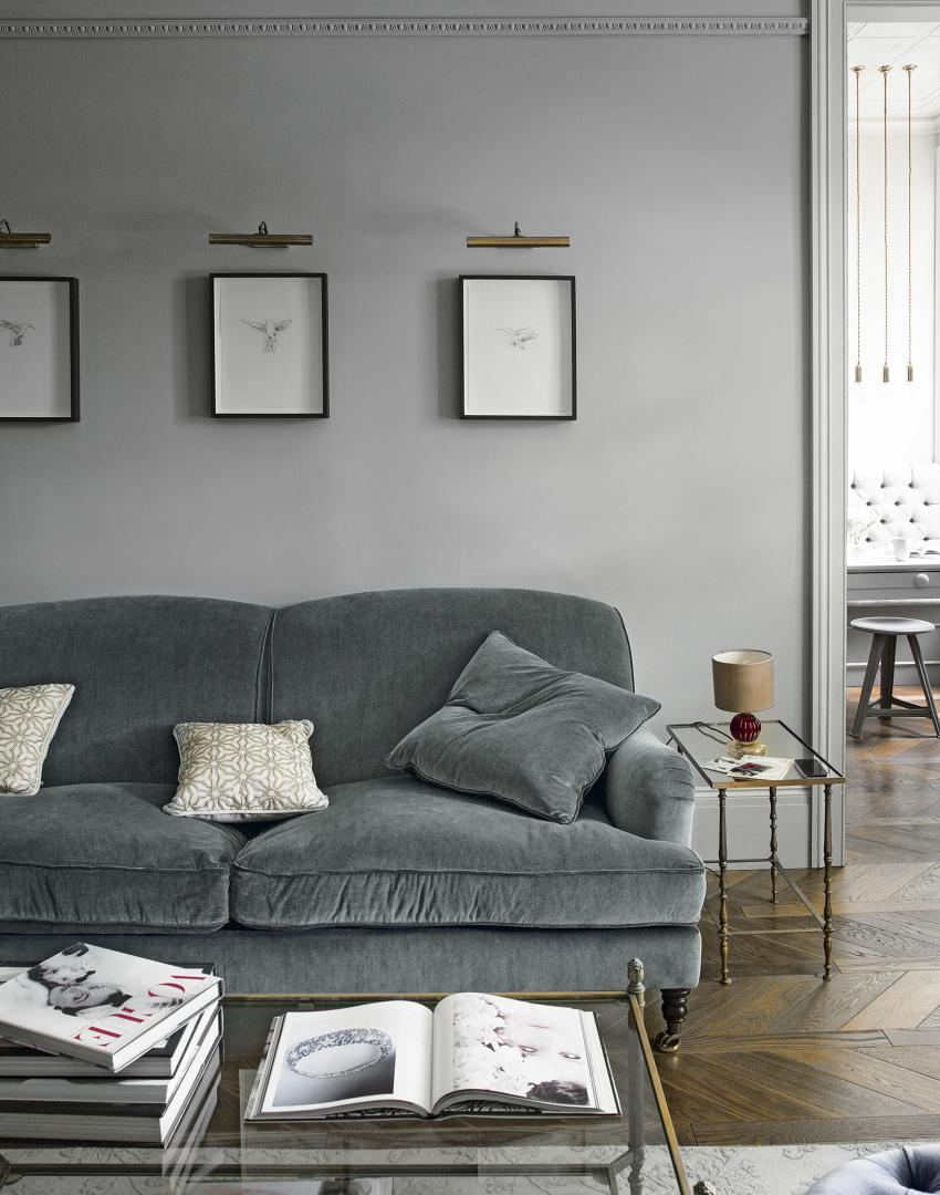 Grey Traditional Living Room with Glass Coffee Table and Parquet Floor