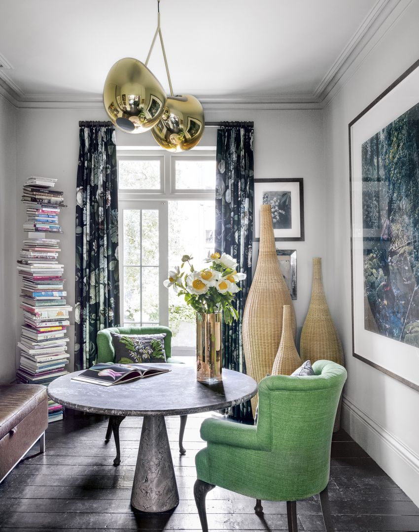 Modern Home Office with Green Armchairs and Round Table