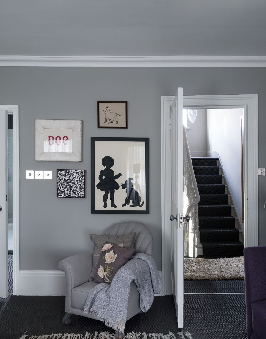 Smart Grey Hallway with Silhouette Wall Art