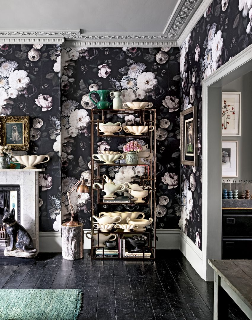 Black floral print wallpaper dark floral wallpaper by ellie cashman - Dramatic Living Room With Dark Floral Wallpaper