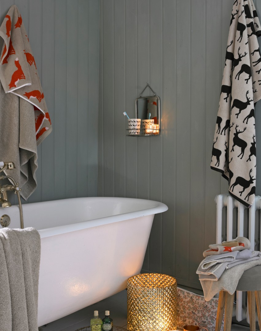 Country Bathroom with Grey Wood Panelled Walls