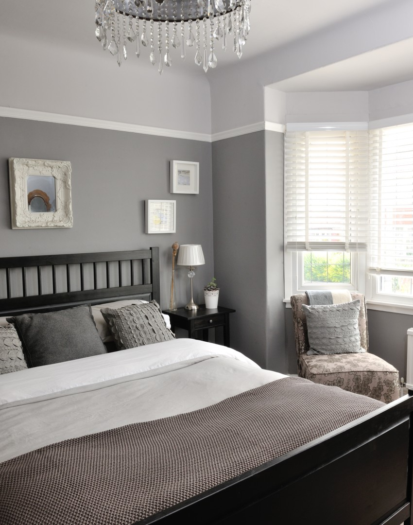 Traditional elegant grey bedroom