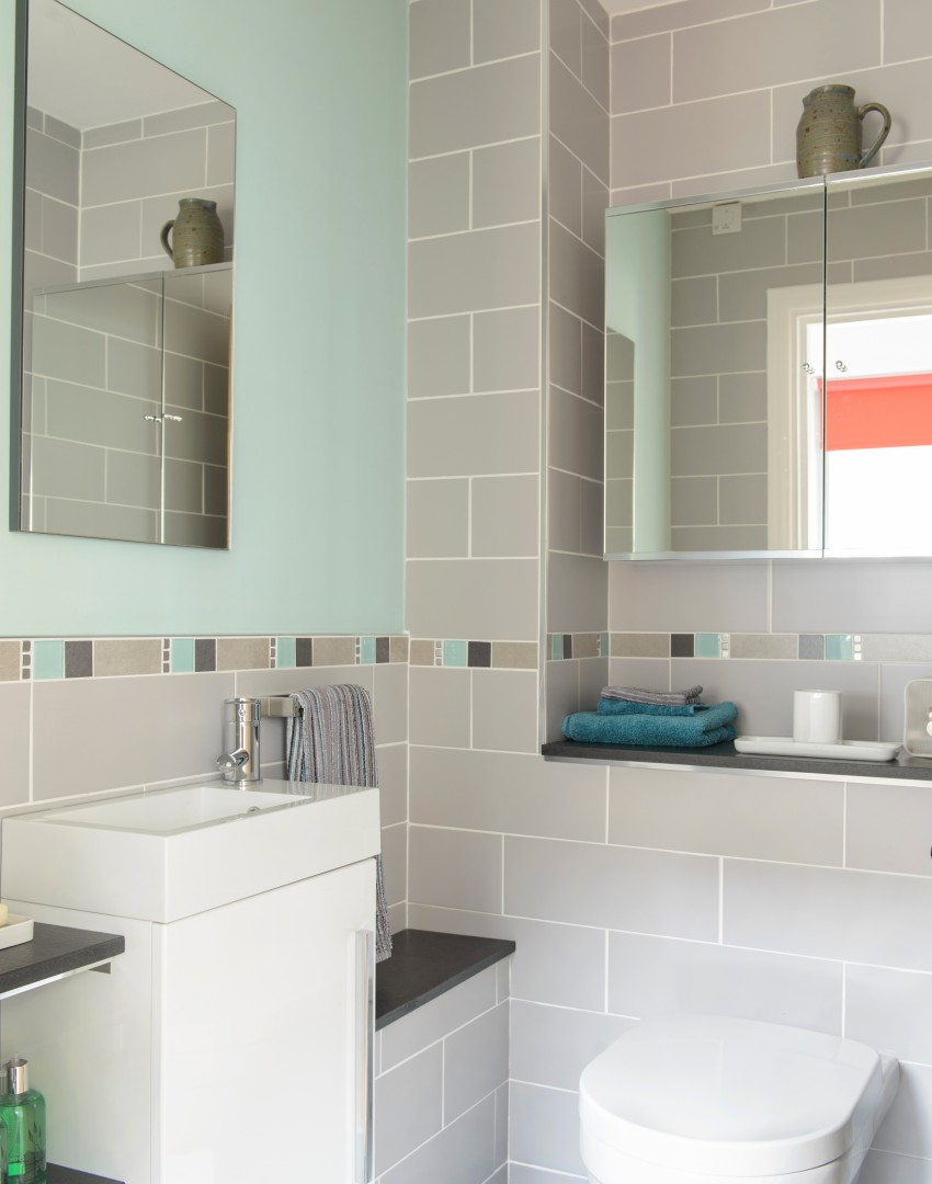 Pin by susan wodicka on bathrooms pinterest 20 colorful for Gray and turquoise bathroom