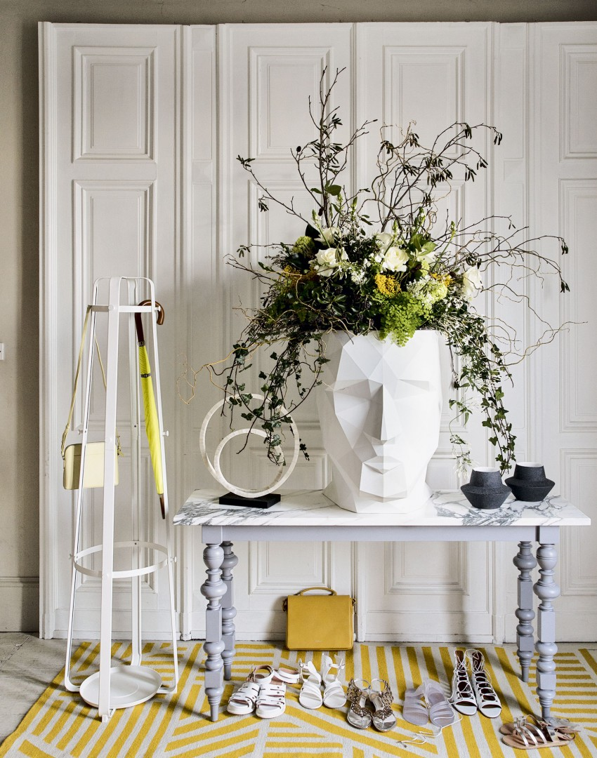 White Modern Hallway with Console Table and Yellow Rug