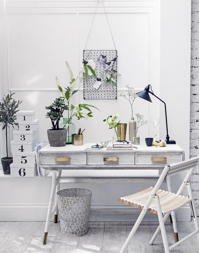 White Modern Home Office with Retro Desk and Chair