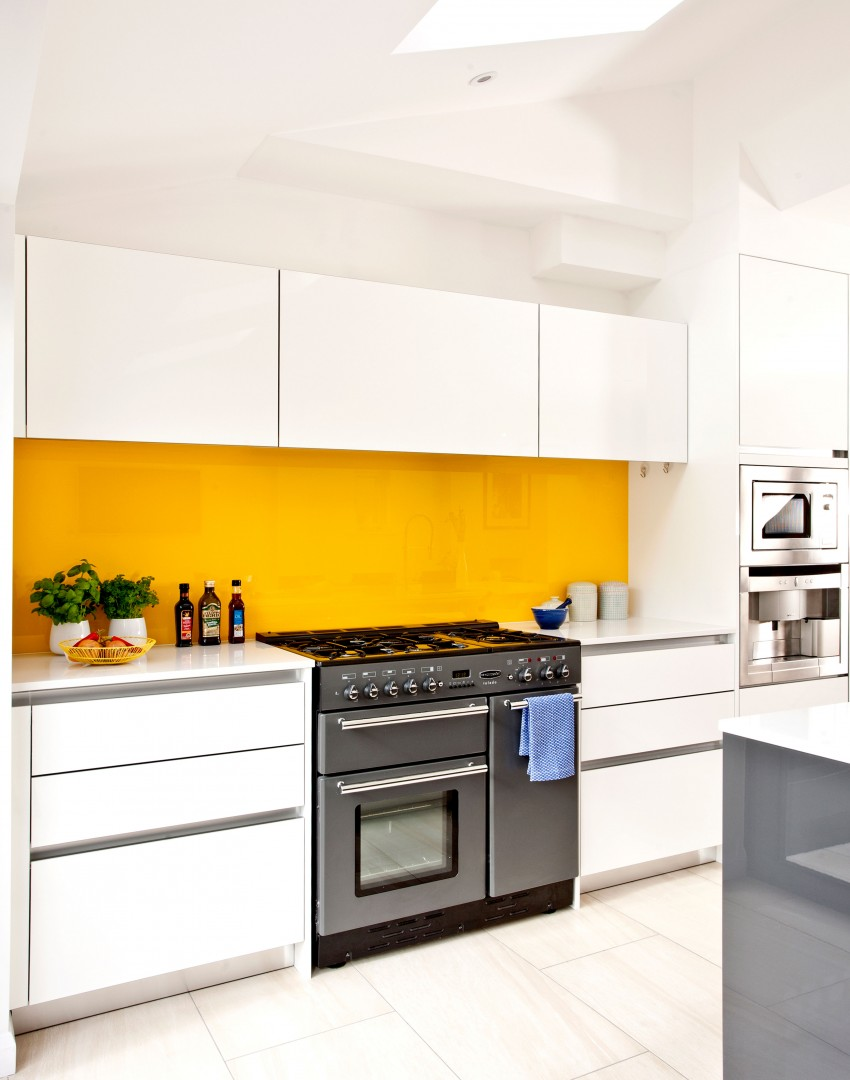 Revive your kitchen with a show stopping splashback the for Modern yellow kitchen cabinets