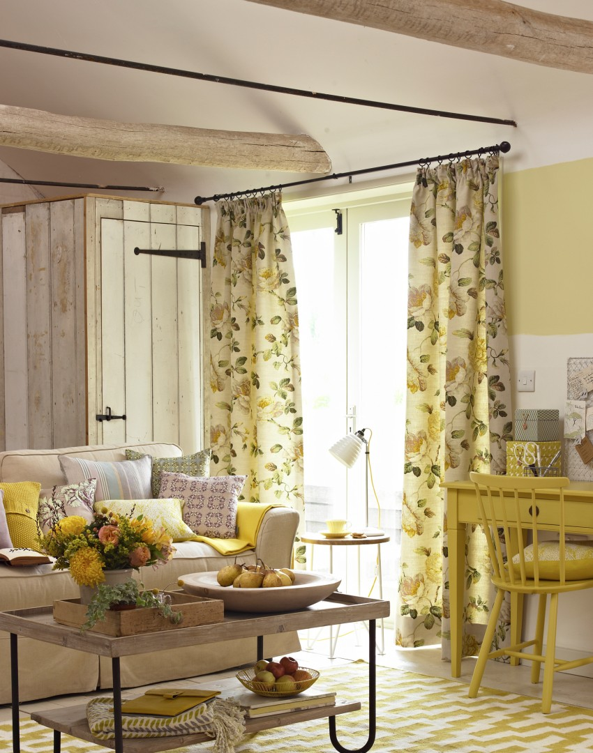 Lemon Yellow Country Living Room With Desk Area Part 21