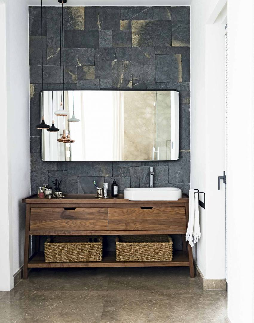 White Modern Bathroom with Freestanding Wooden Washstand