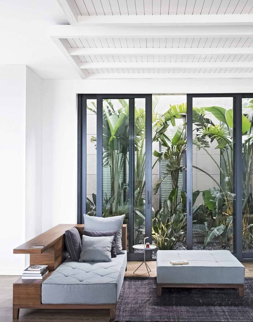 Modern Conservatory with Mid-century Furniture