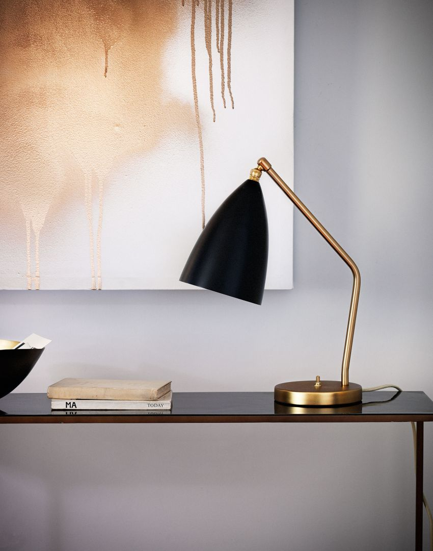 Minimal Hallway with Brass Lamp and Console Table