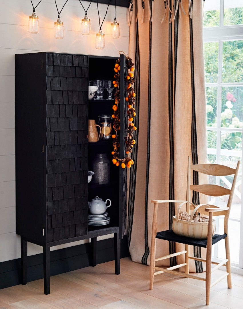 Modern Country Dining Room with Elegant Black Cabinet