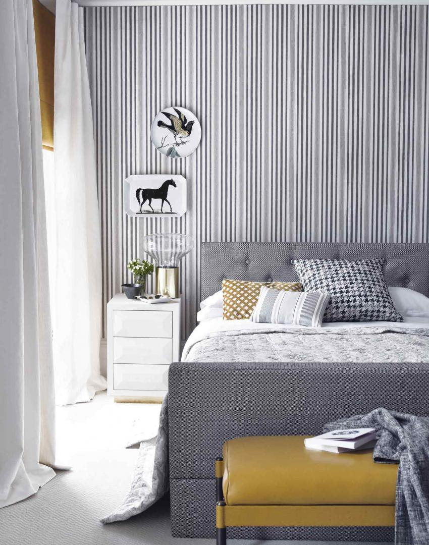 Make your bedroom gorgeous with wallpaper the room edit for Grey feature wallpaper bedroom