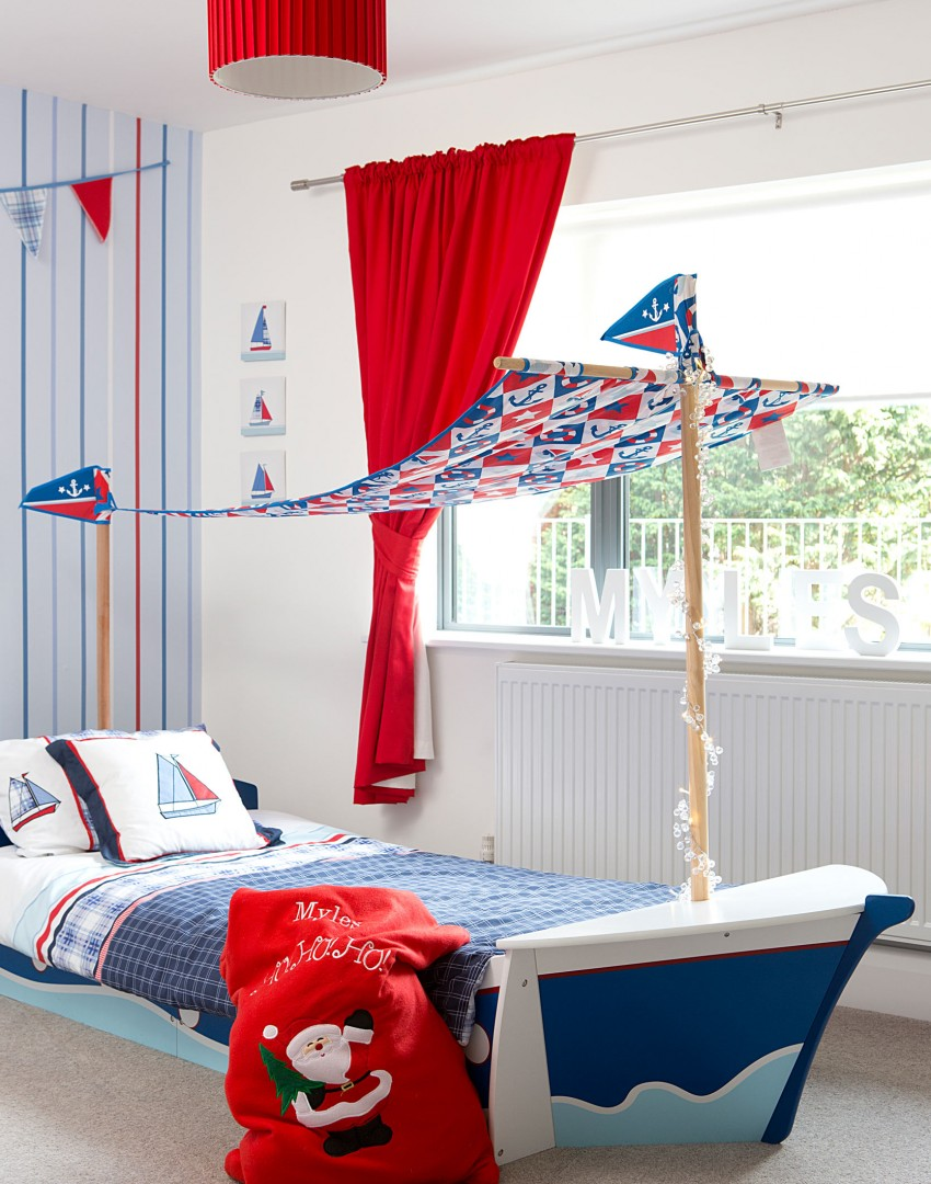 Child's Modern Bedroom with Sail-boat Bed