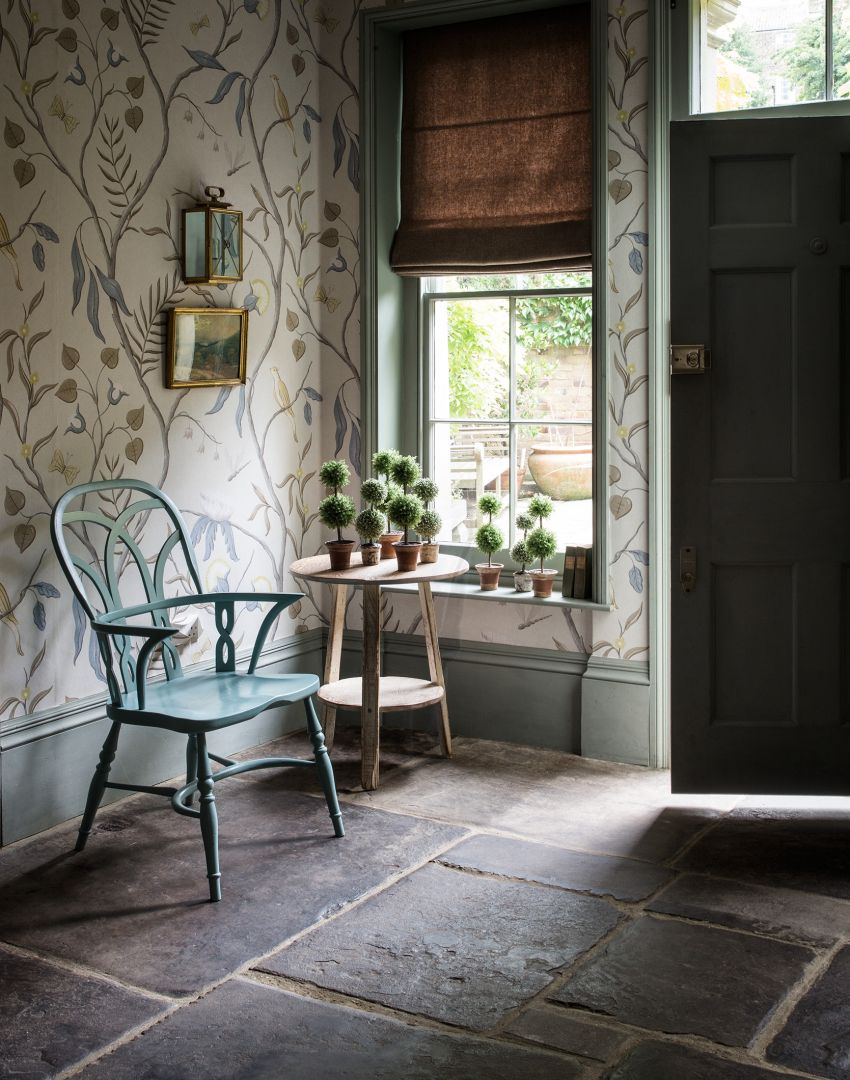Country Hallway with Trailing Botanicals Wallpaper and Green Paintwork