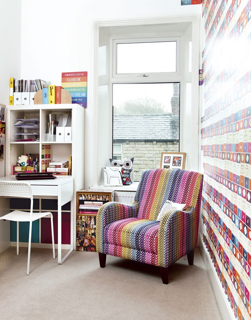 Modern Colourful Study with Book Print Wallpaper