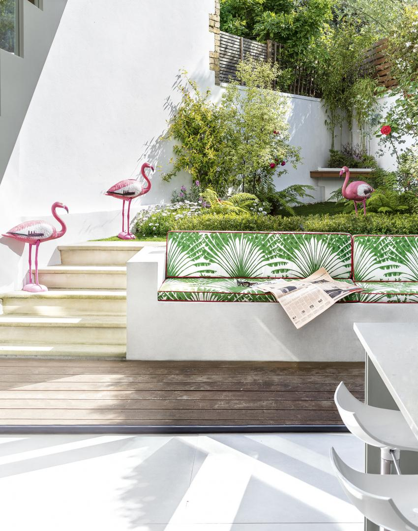 Modern Landscaped Garden With Flamingo Sculptures