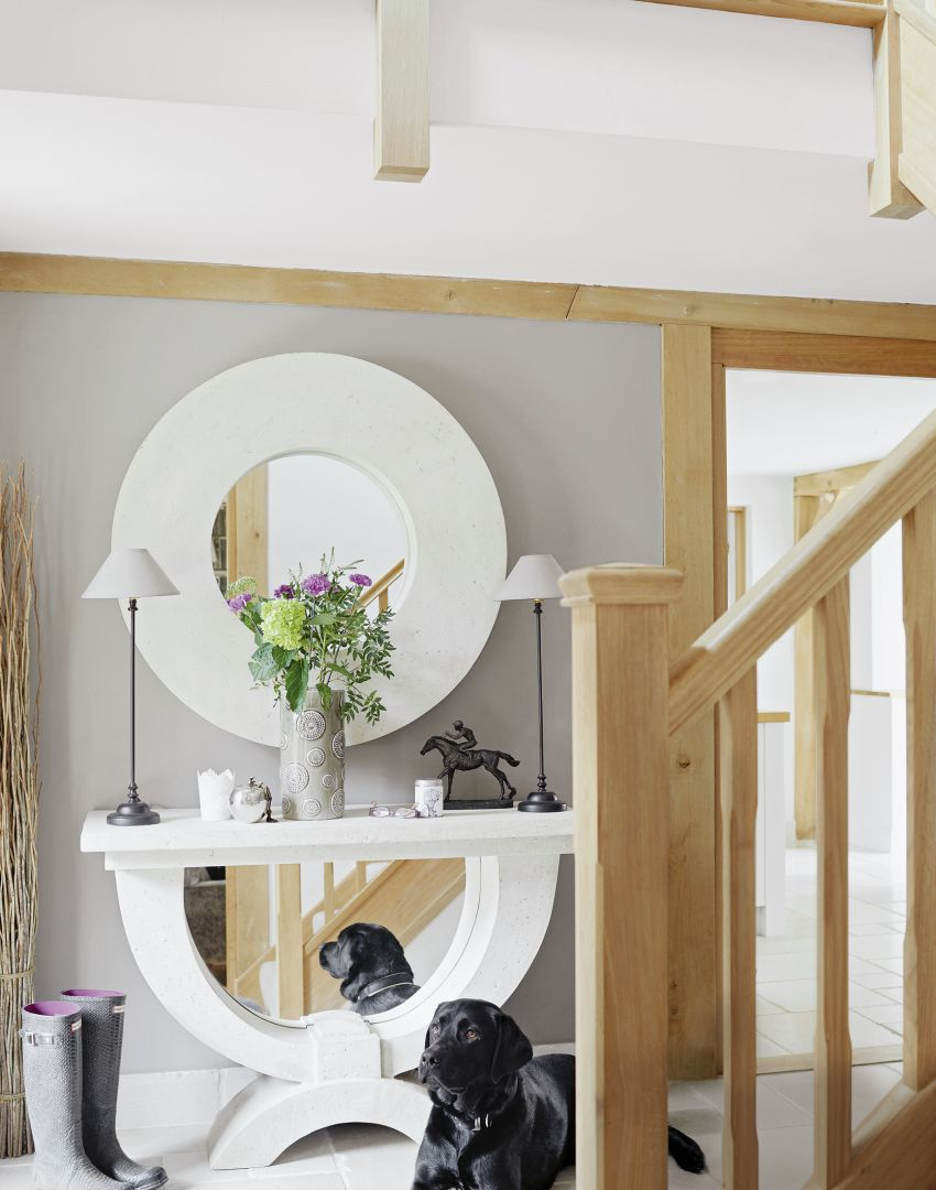 Grey Country Hallway with Stone Console Table