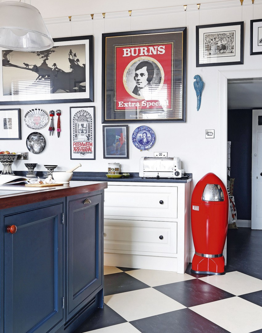 White and Blue Painted Kitchen with Bold Prints