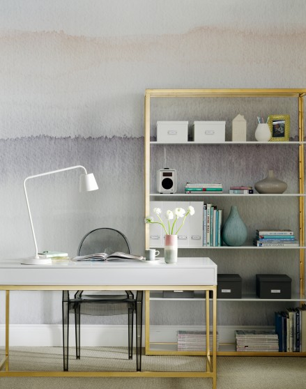 Ombre Home Office With Luxe Gold Desk The Room Edit