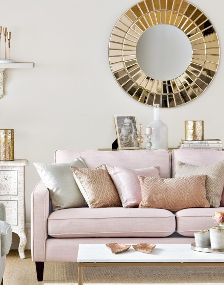 Neutral living room with rose gold and pink accents the room edit Gold accessories for living room