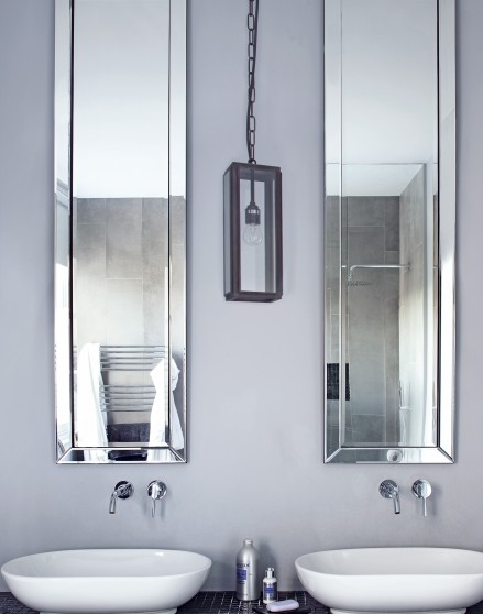 Blue Modern Bathroom With Twin Basins And Mirrors The Room Edit