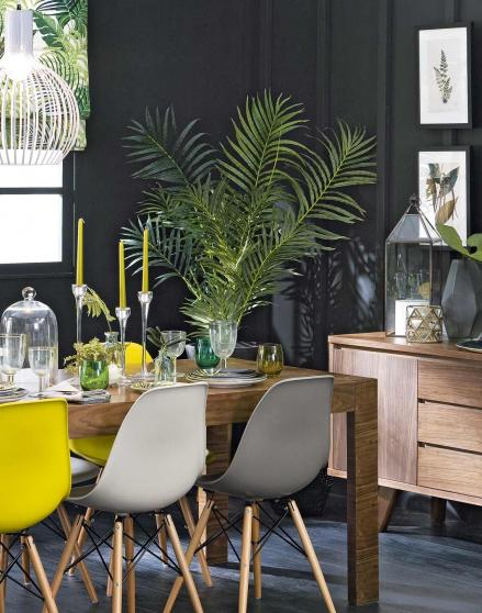 Slate Grey Dining Room with Leafy Tropical Decor The  : tables yellow chairs from theroomedit.com size 439 x 558 jpeg 48kB