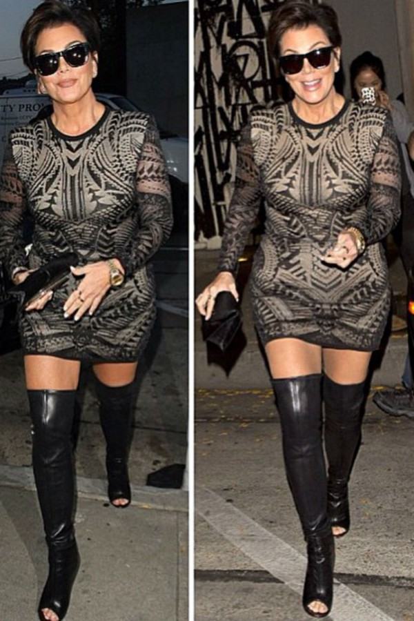 Kris Jenner in thigh high boots. What would you do if YOUR mum wore them?