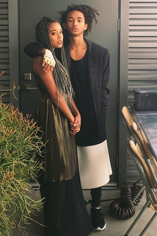 Jaden attends Amandla Stenberg's high-school prom in a monochrome dress and tux jacket