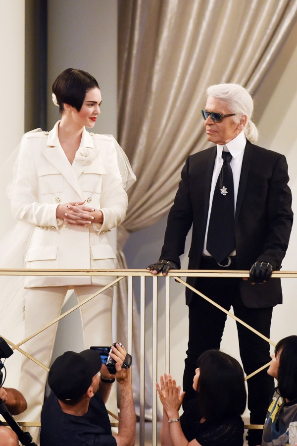 Kendall Jenner and Karl Lagerfeld at Chanel show at Haute Couture Fashion Week