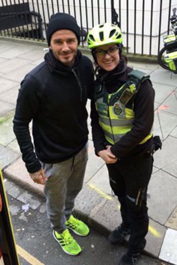 David Beckham with the London Paramedic